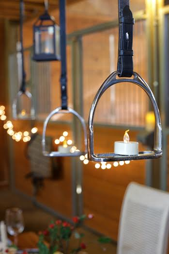For a little party fun, these  DIY Stirrup light pendants make the perfect statement by adding some horsey flair in a classy way. You can even buy fake candles to make the ambiance even more romantic.