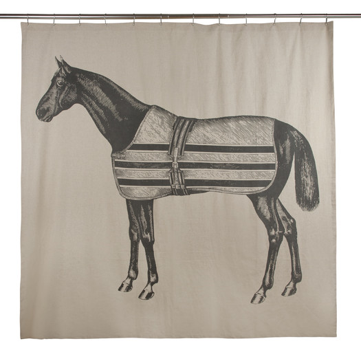 This  Equestrian Flax Shower Curtain gives a lovely farmhouse feel to the bathroom, maintaining a neutral color tone that could go with any bathroom design.