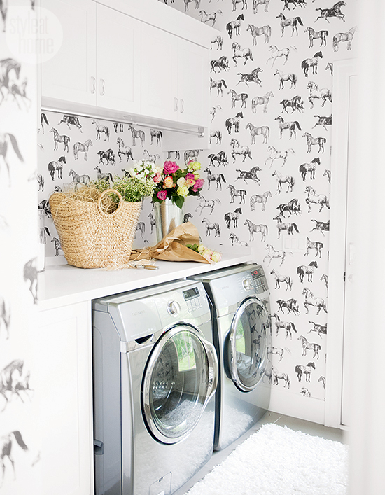 I'm so into this  Black and White Horse Wallpaper that I might just cover all the walls in my house with it. Statement wallpapers are great for small spaces such as laundry rooms and powder rooms, so consider adding some horsey flair next time you're searching for wallcoverings!