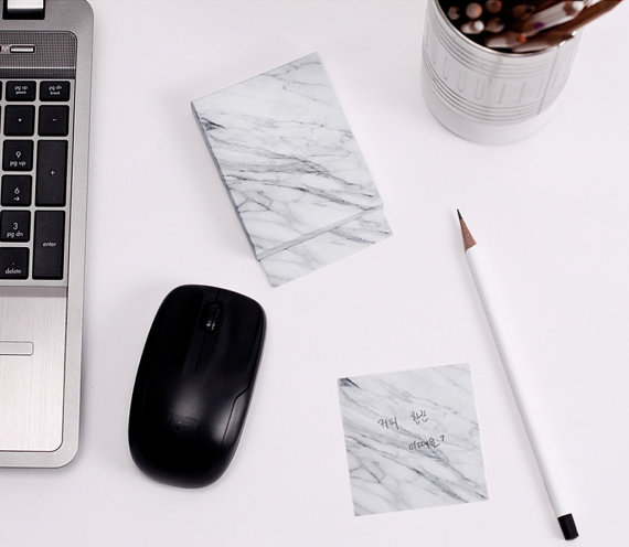 I'm guilty of leaving neon sticky notes everywhere with little messages on them, but I should really just buy this  Marble Memo Pad and they wouldn't be so horribly ugly lying on every surface of my room. These look so fancy and pretty, but can be used for any message or reminder that you don't want to forget.