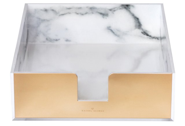 Stacks of paper lying around are the perfect way for a space to lose its style, so add it back with this  Acrylic Marble and Gold Desk Tray . With a marbled base and gold accents, no one will even notice the stack of disorganized papers inside it!