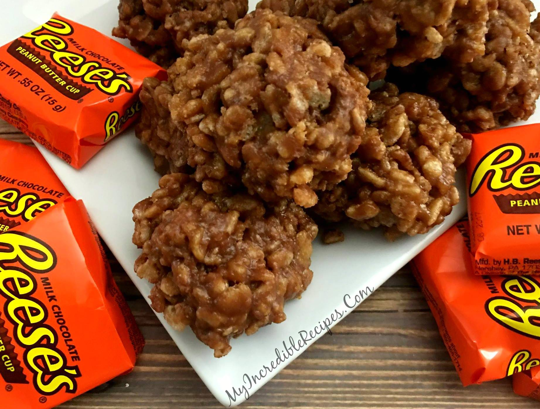 On the other end of the peanut butter spectrum, Reese's offer chocolate and peanut butter in a delectably smooth and arguably flawless combination. But sometimes we do just want a little crunch in our lives, but the type that won't stick to our teeth. That's exactly what you'll find in these  No-Bake Reese's Krispy Cookies . Plus, they're so easy you don't even have to use an oven. Nothing is better than the smoothness of chocolate peanut butter combined with the perfect crisp of Rice Krispies.