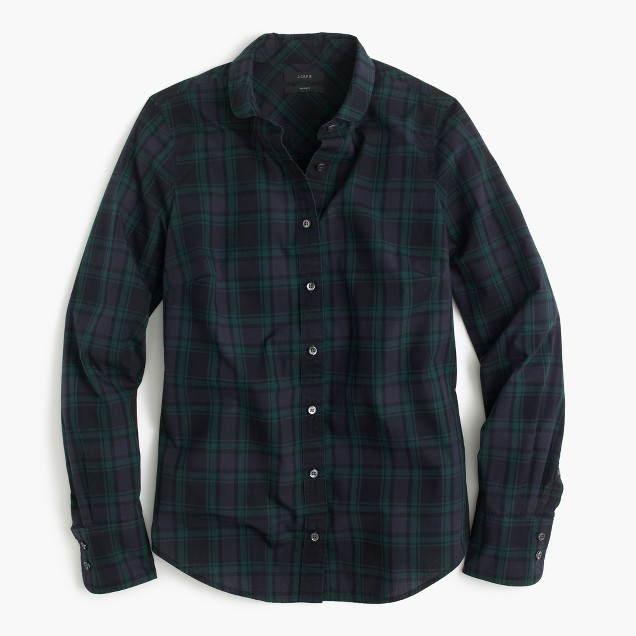 I have way more dark-colored plaid button-downs than is socially acceptable. They're just so cozy and easy to throw on with jeans or leggings and still make it look like you put in a little effort. To step up the look even more, add a puffer vest to this  J. Crew Club-Collar Perfect Shirt and accessorize with some cute jewelry or riding boots!