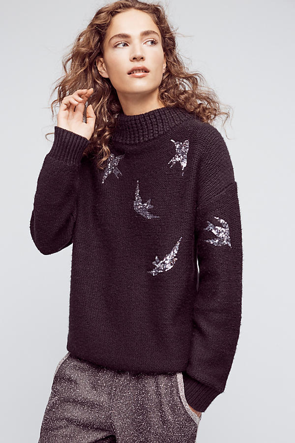 Fall is the time for your darker side to emerge, so buy yourself a nice dark sweater like this  Sequin Flight Pullover . It's not a plain solid color, so you can show off some pizazz with the sparkly birds flying around it.