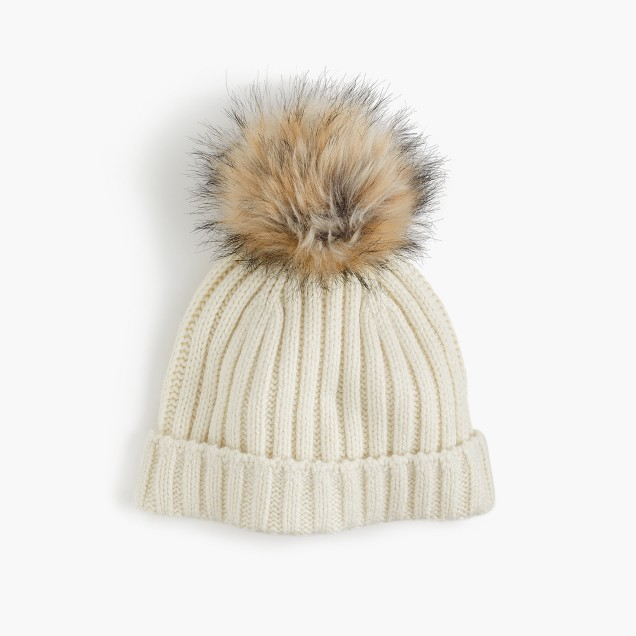 If you'd rather not break the bank for a cute hat, you can still get super cute ones for less money, like this  Ribbed Pom Pom Hat from J. Crew! It's got a more natural fur look going on at the top and it will still go with just about any fall outfit you throw together!