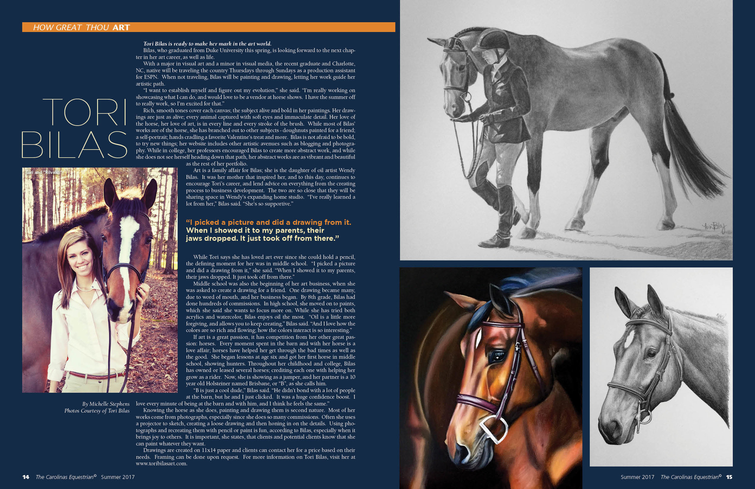 Article in   Carolinas Equestrian   written by Michelle Stephens
