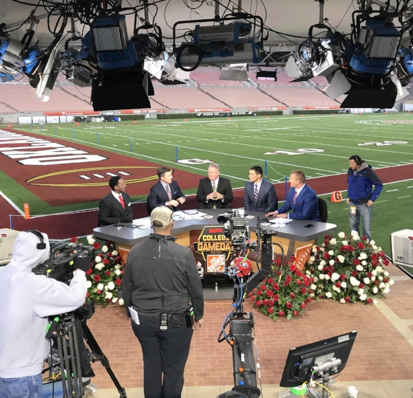 The guys on set the morning of the Rose Bowl.