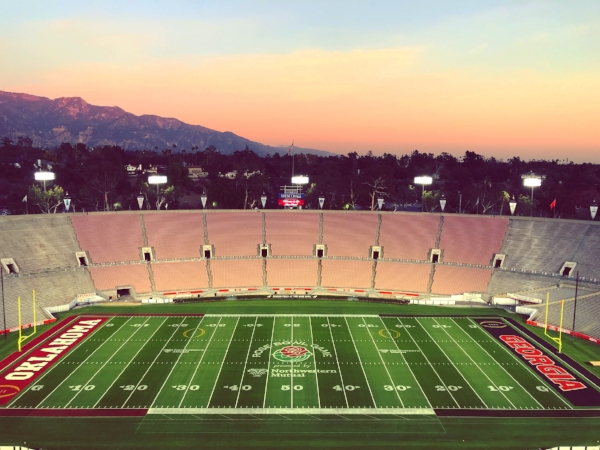 The view from the very top of the Rose Bowl Stadium.