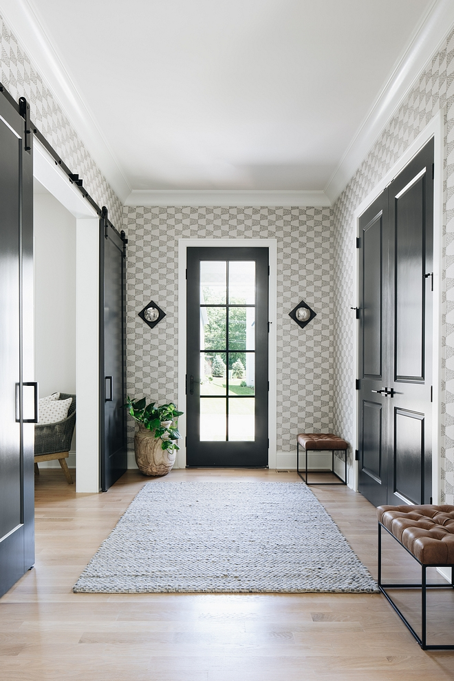 """Black doors are painted in  """"Benjamin Moore Wrought Iron""""  and wallpaper is by  Thibaut."""