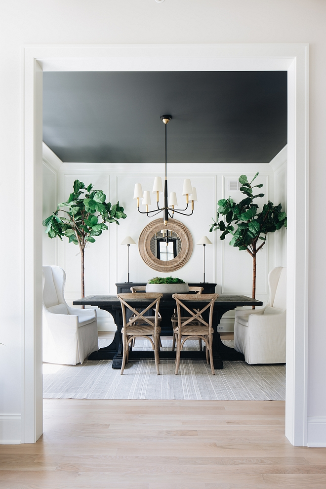 Ceiling Paint Color:  Benjamin Moore Wrought Iron 2124-10.  Walls are  Simply White by Benjamin Moore.