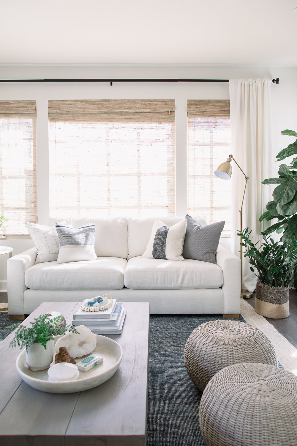 The natural light makes the white sofa glow in the afternoon sun.