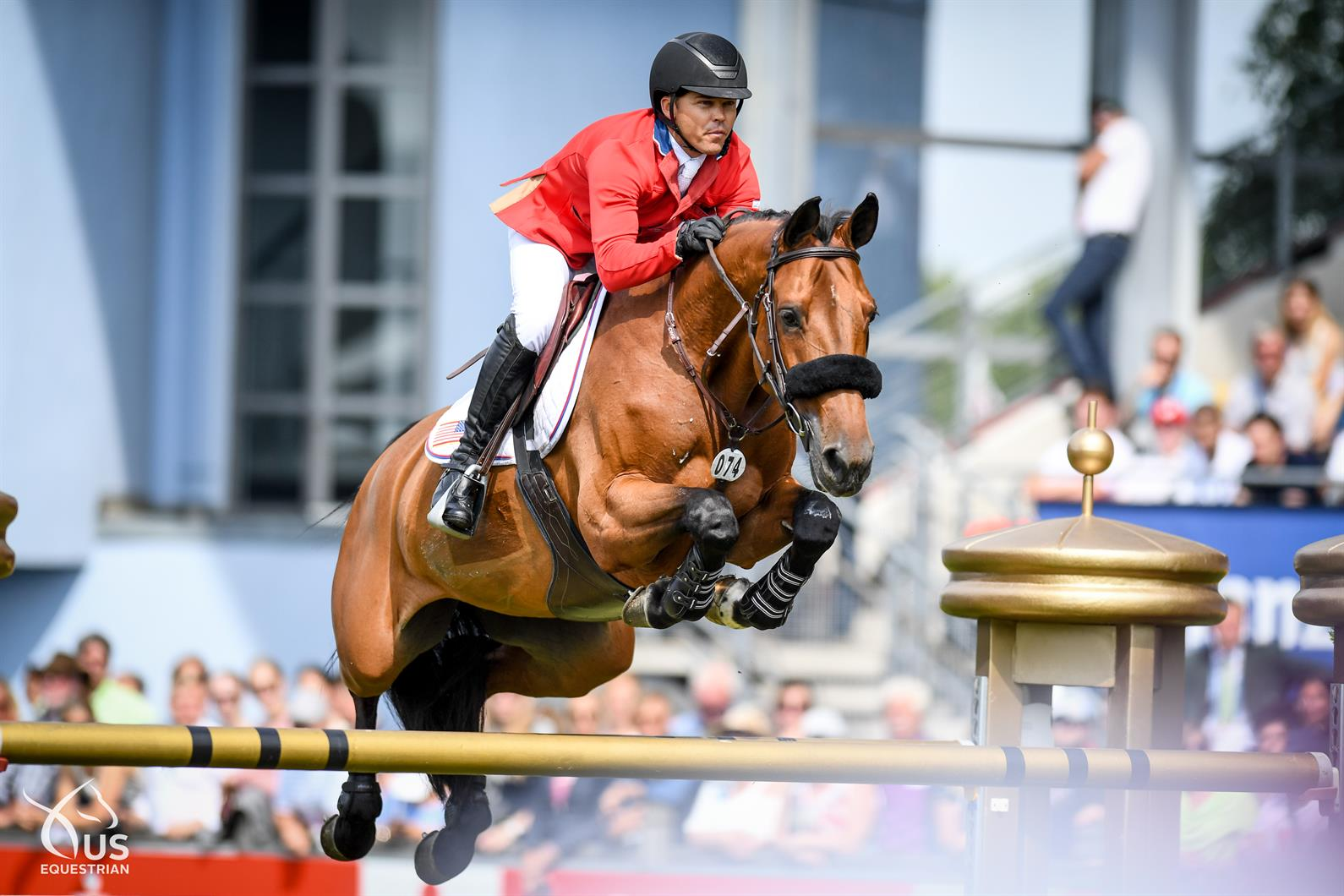 Kent Farrington and Gazelle making light work of the 1.60m 3-round Grand Prix at Aachen. Photo by US Equestrian.
