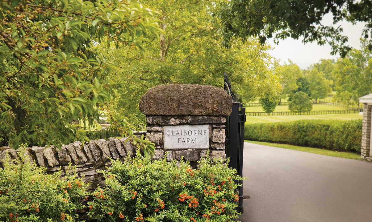 An entrance to Claiborne Farm, where Secretariat lived out his retired years and is now buried.
