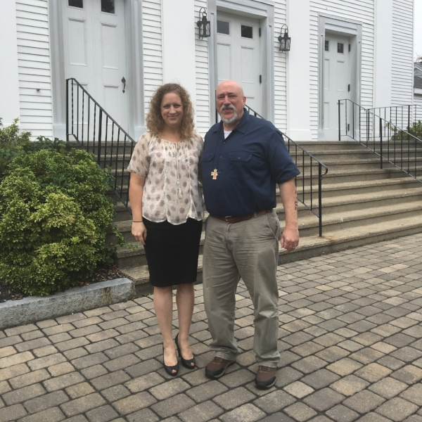 Pam Denholm with Rev. TC Coronite on the front steps of First Church in Weymouth