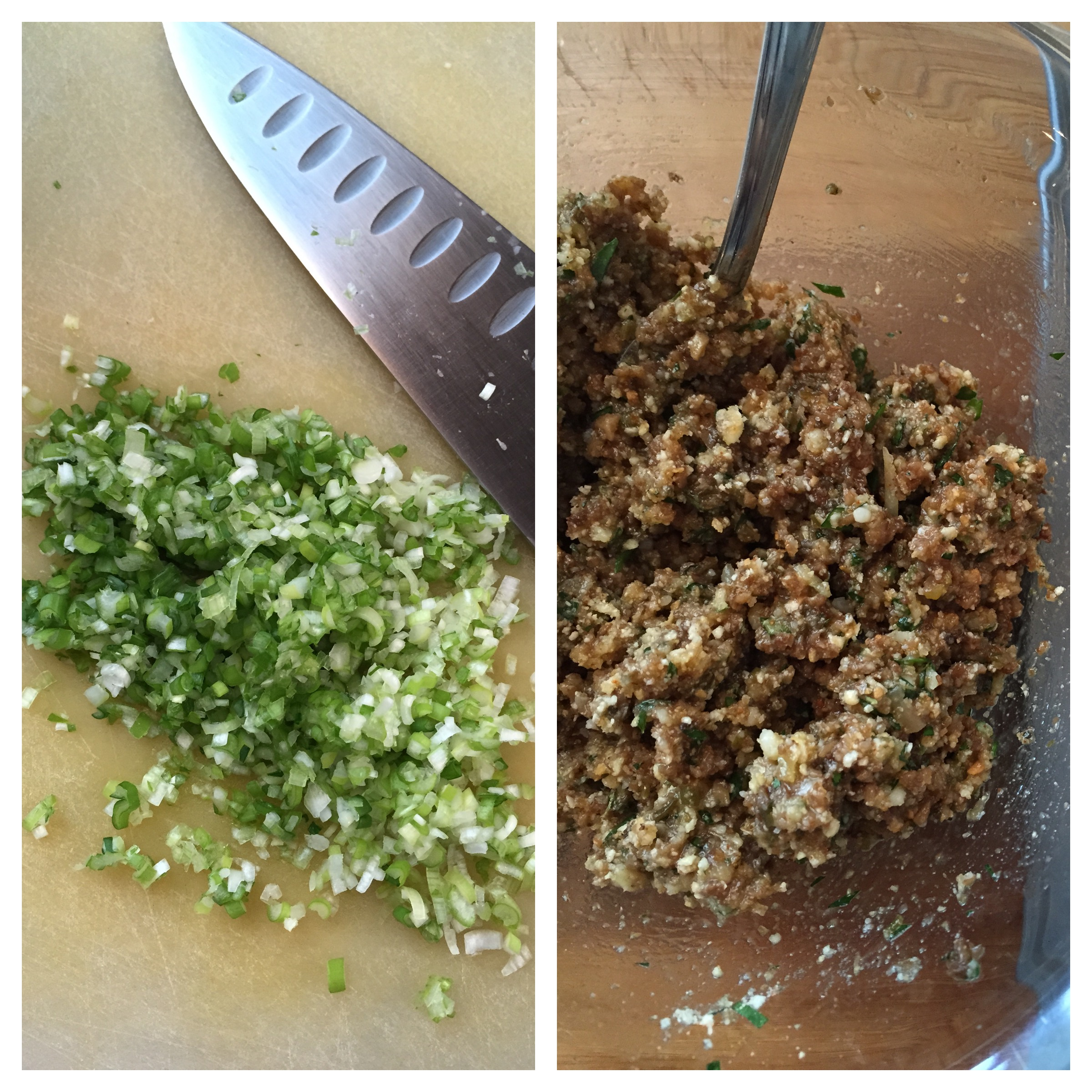 Finely chopped scallions; stuffing ready to use