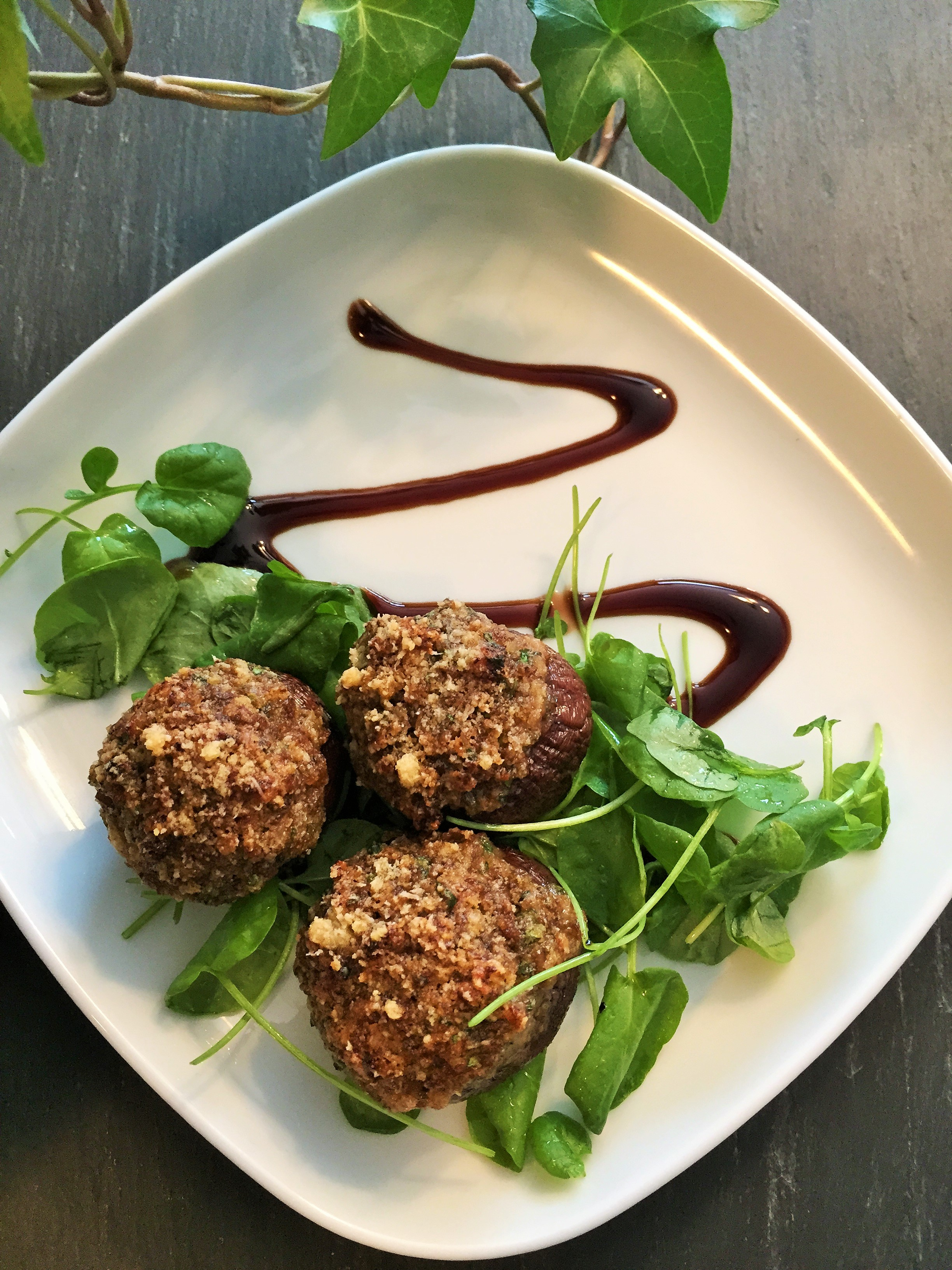 Stuffed Creminis with watercress and balsamic reduction!