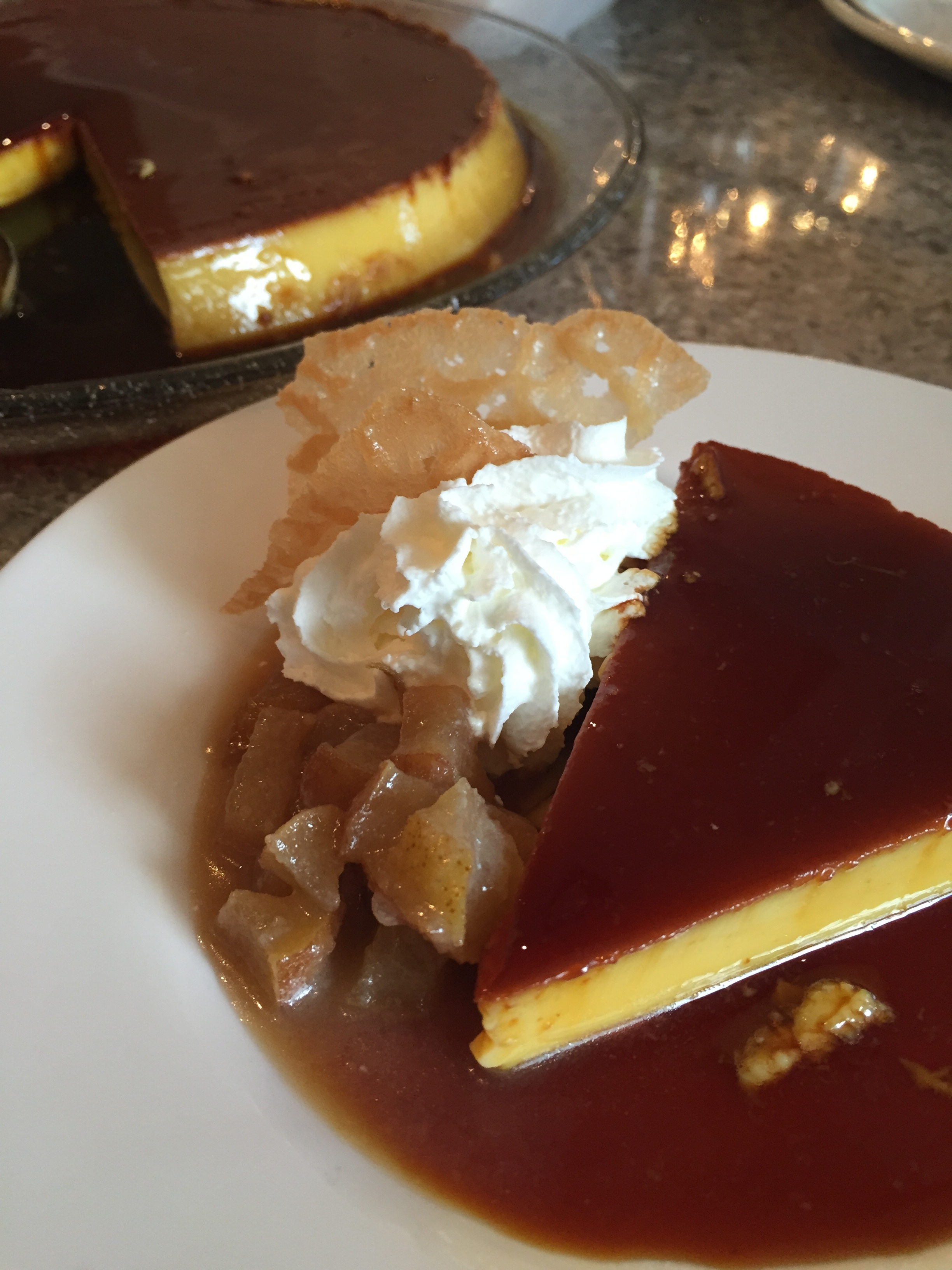 Flan with caramelized pears and brandy snaps