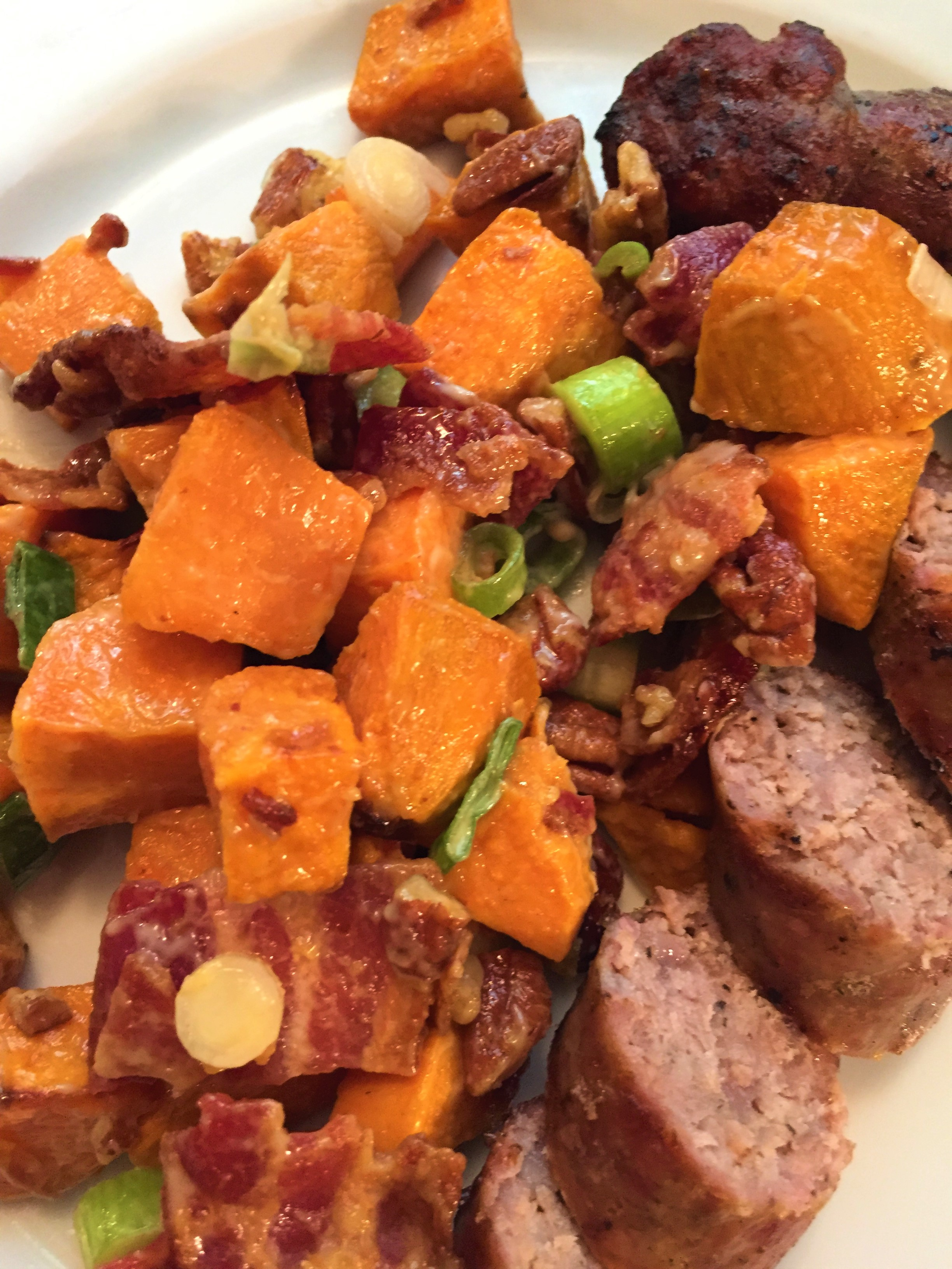 Cathy's Sweet Potato Salad (served with sausages)