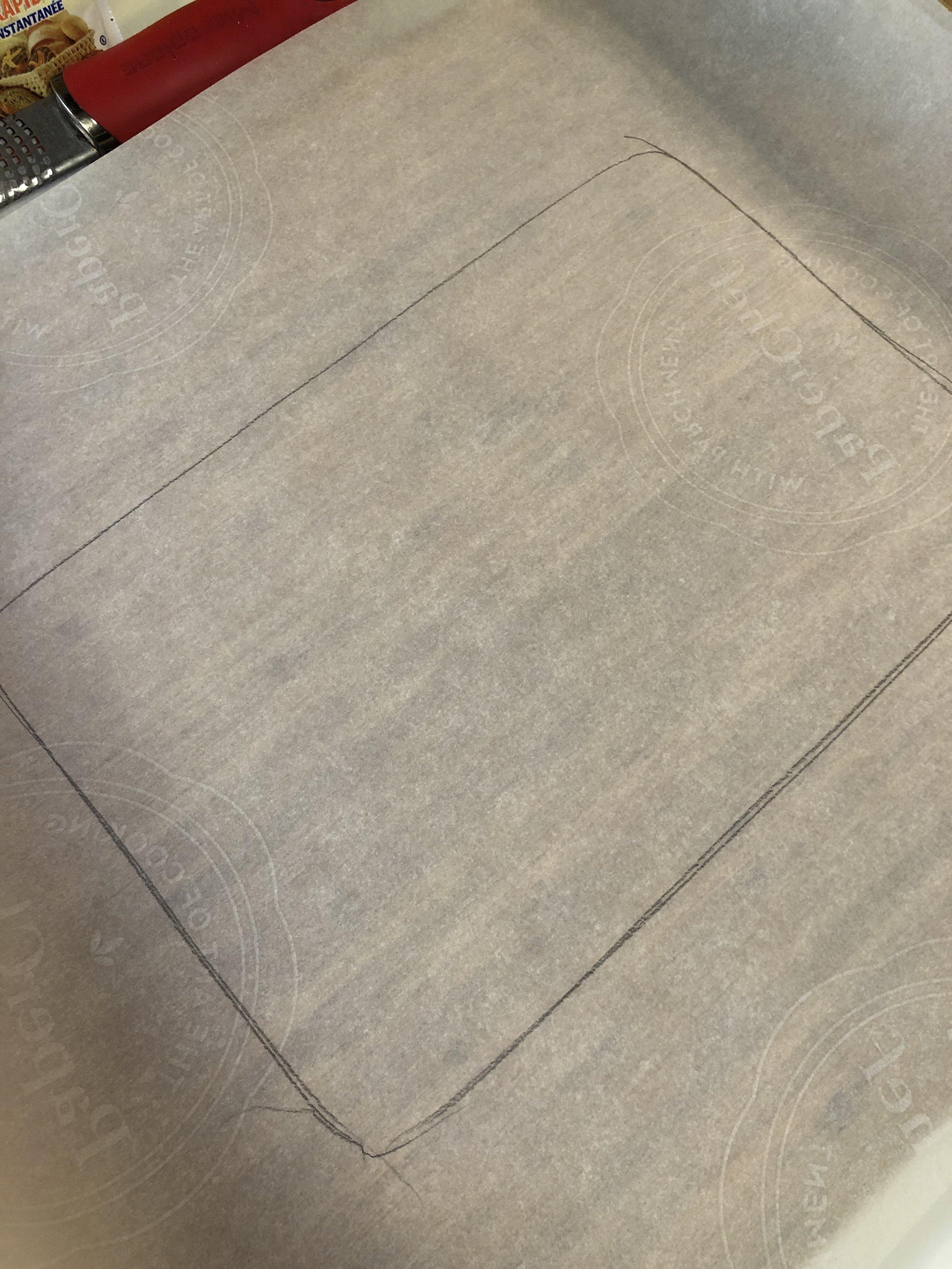 Parchment template for dough