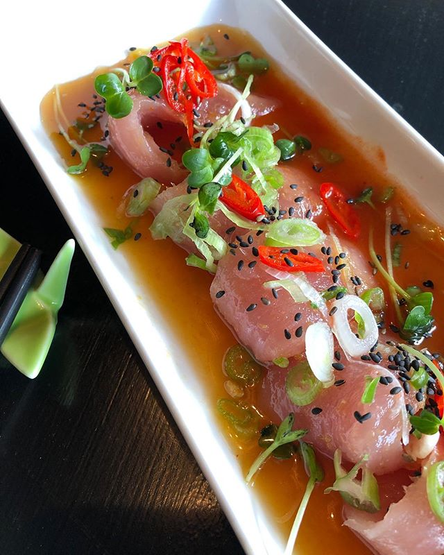 Albacore tuna in ponzu - a signature dish @papercranehamilton  Go there now - they're still open. #sushi #tuna