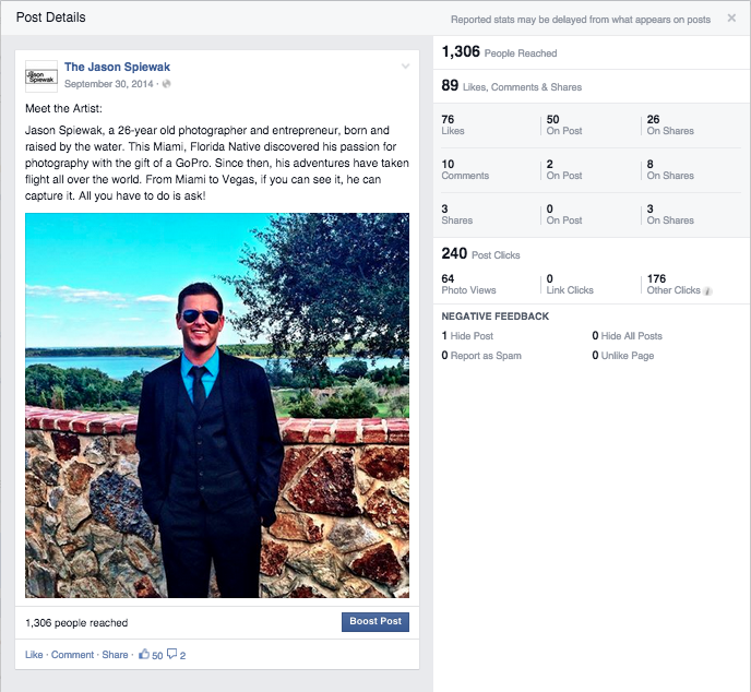 Facebook Post |  1,306  People Reached | September 2014 |
