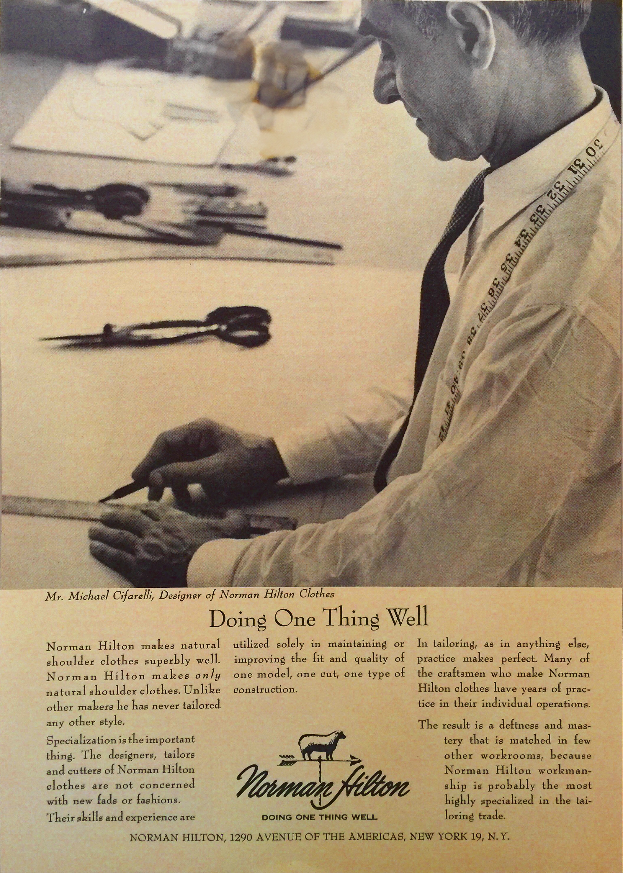 Michael Cifarelli - in a 1964 New Yorker ad.Still Doing One Thing, fifteen years later.