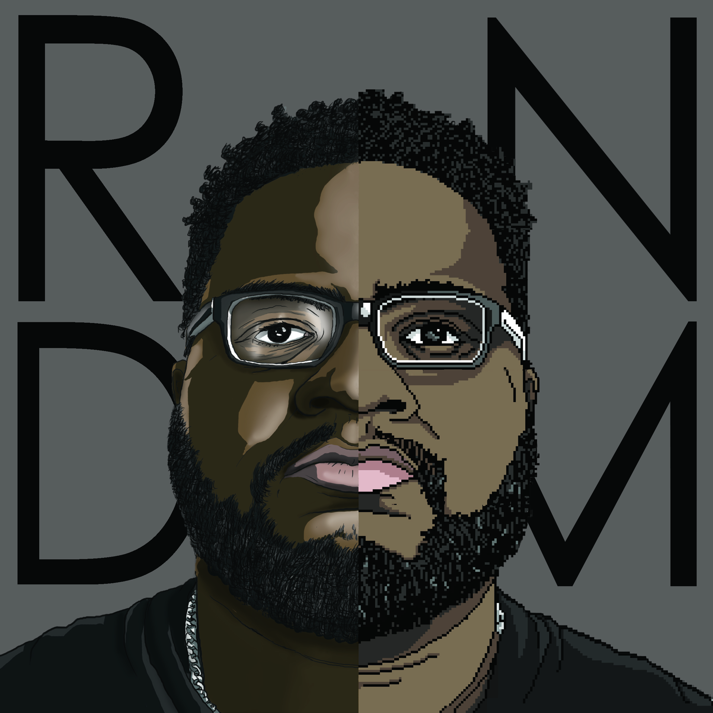 Album cover for RNDM, The version Kickstarter backers will get who pledged enough to get their exclusive copy.