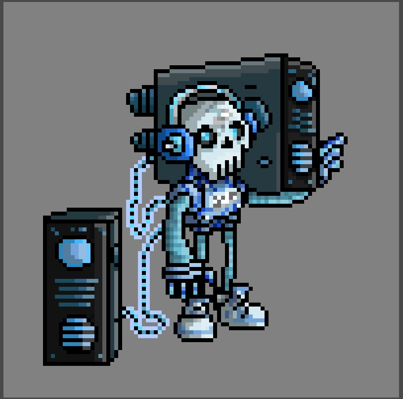 One of 30+ brand new character sprites for the Digital Champions season 2 trading cards, that I was lucky enough to work on in their entirety this time around. This guys one of muh faves I created <3