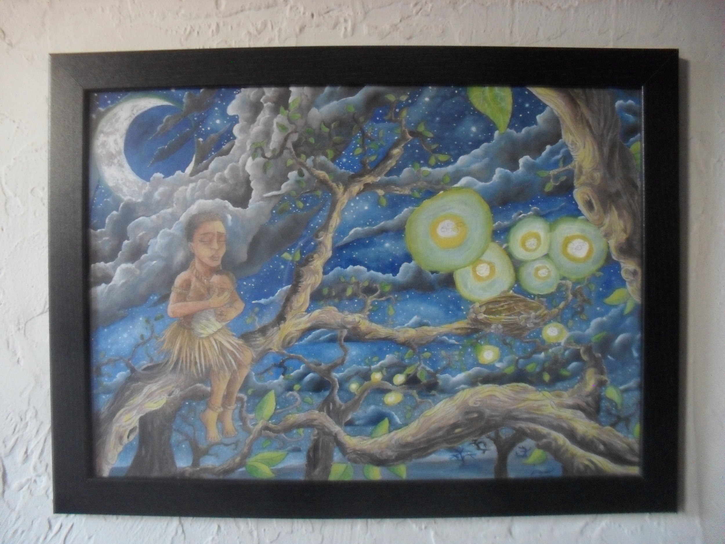 'Eve' Framed Original ~Pencil & Watercolour on A3 Primed Birch Plywood ~£250 plus p+p