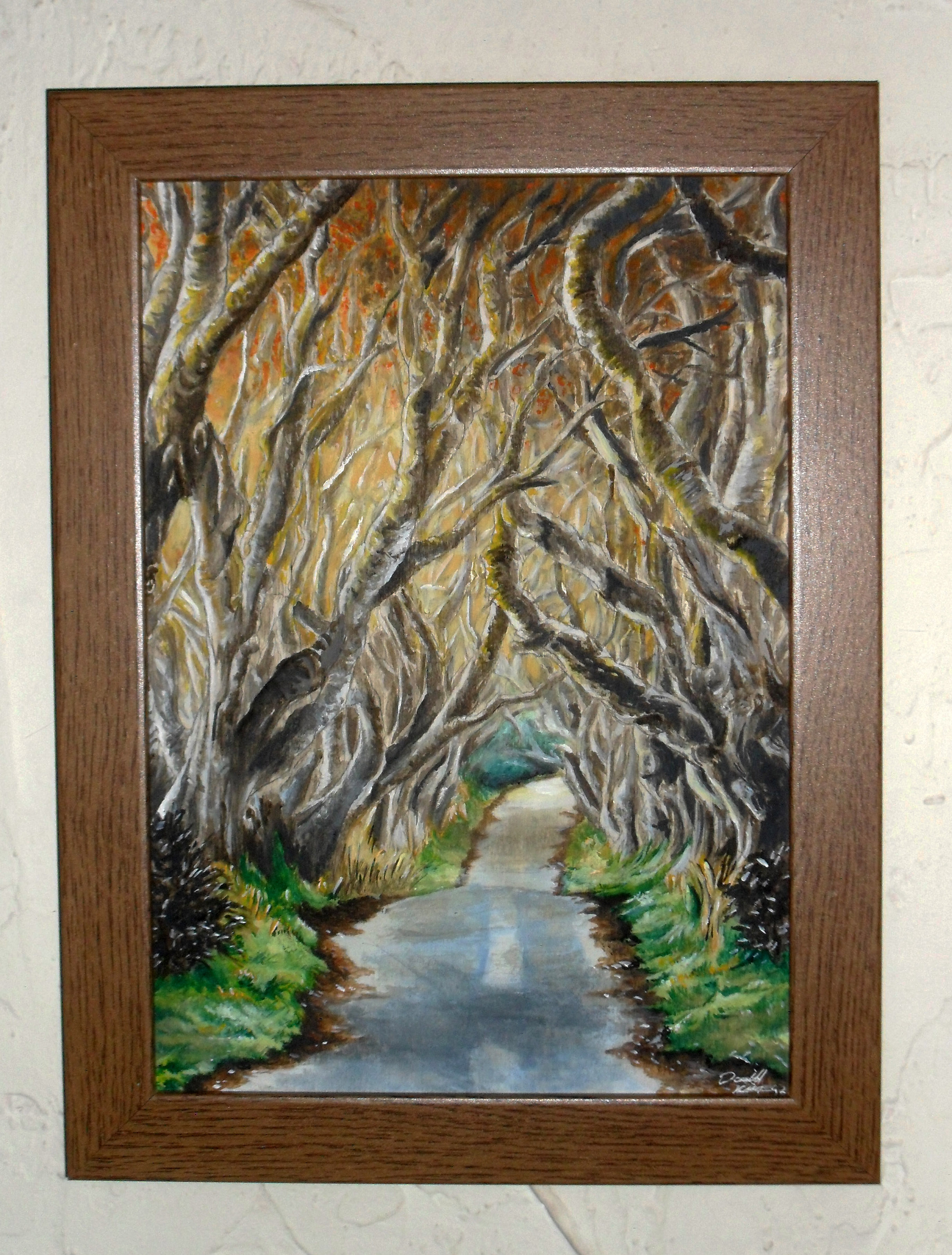 'The Interwoven Path' Framed Original ~Pencil & Watercolour on A4 Primed Birch Plywood ~£90 plus p+p