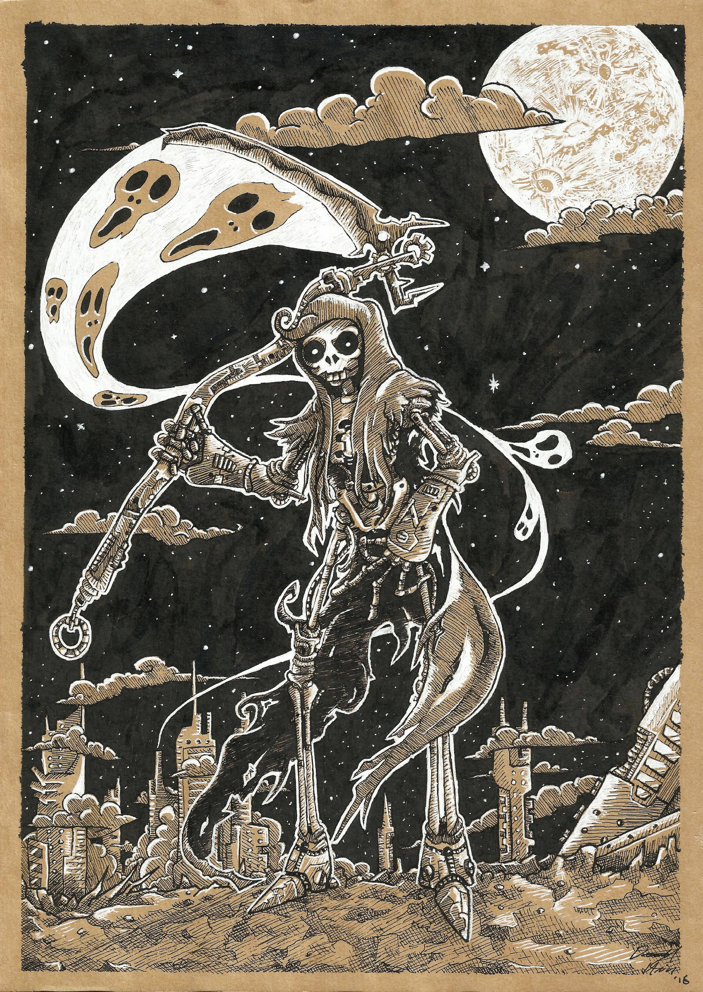 'Death of Planet RUST'   ~ Various strength fineline pens, Indian ink and White Gel pen on half-tone paper