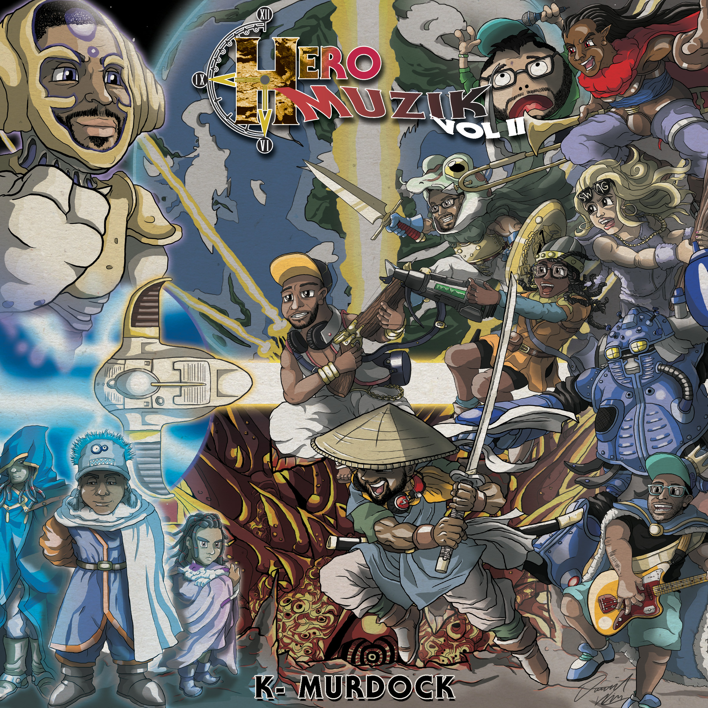 HERO MUZIK Vol. 2 by K-Murdock  was probably THE most ambitious album art i created this year. Tying in a year after the Chrono Trigger 20th anniversary, this tribute allowed me to characterize all the artists involved to create this epic showdown of talent.