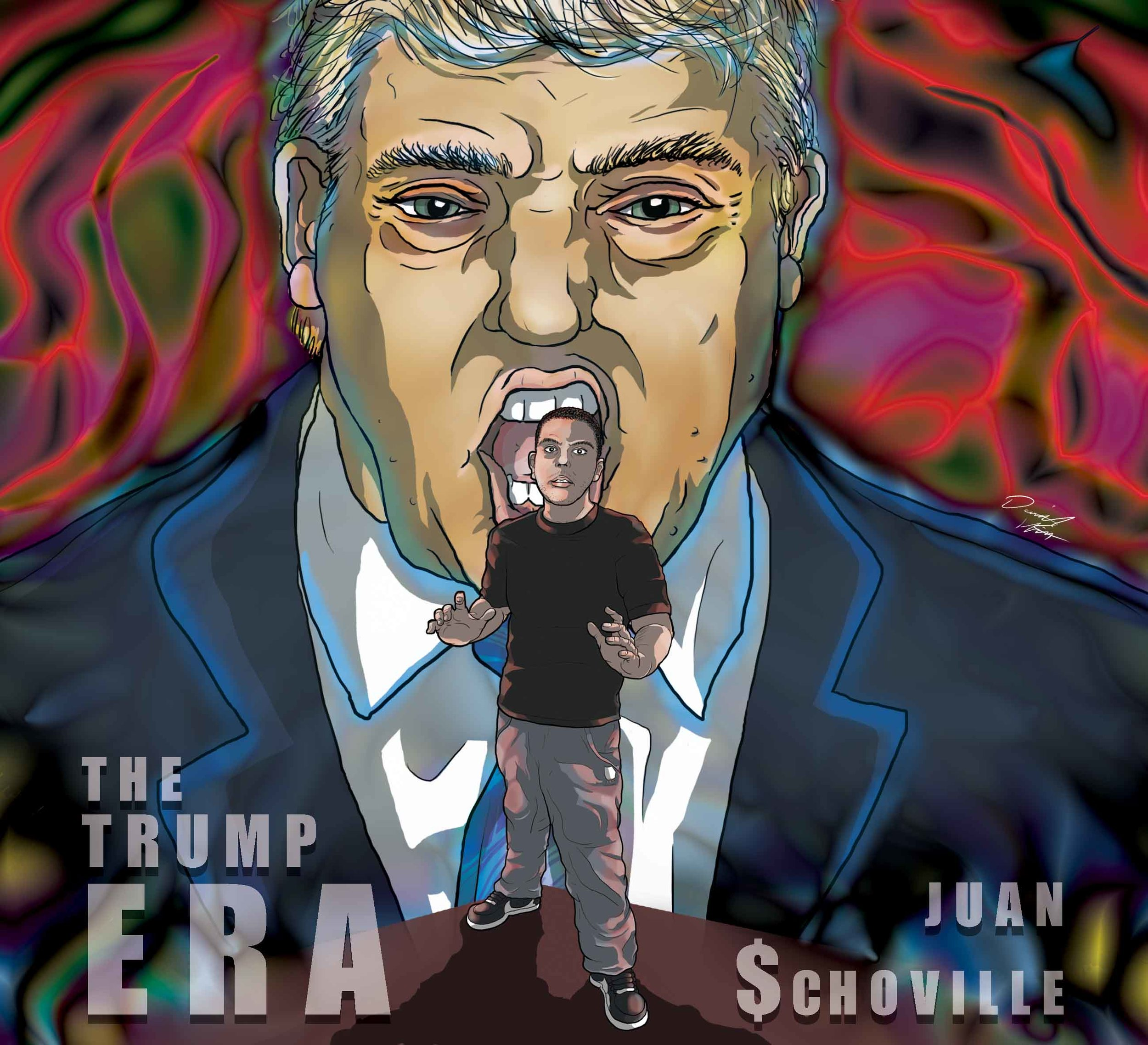 Political satire based cover art for upcoming album by AZ Hip Hop artist Juan $choville. First time doing a satirical piece, so faced some interesting challenges with this project.