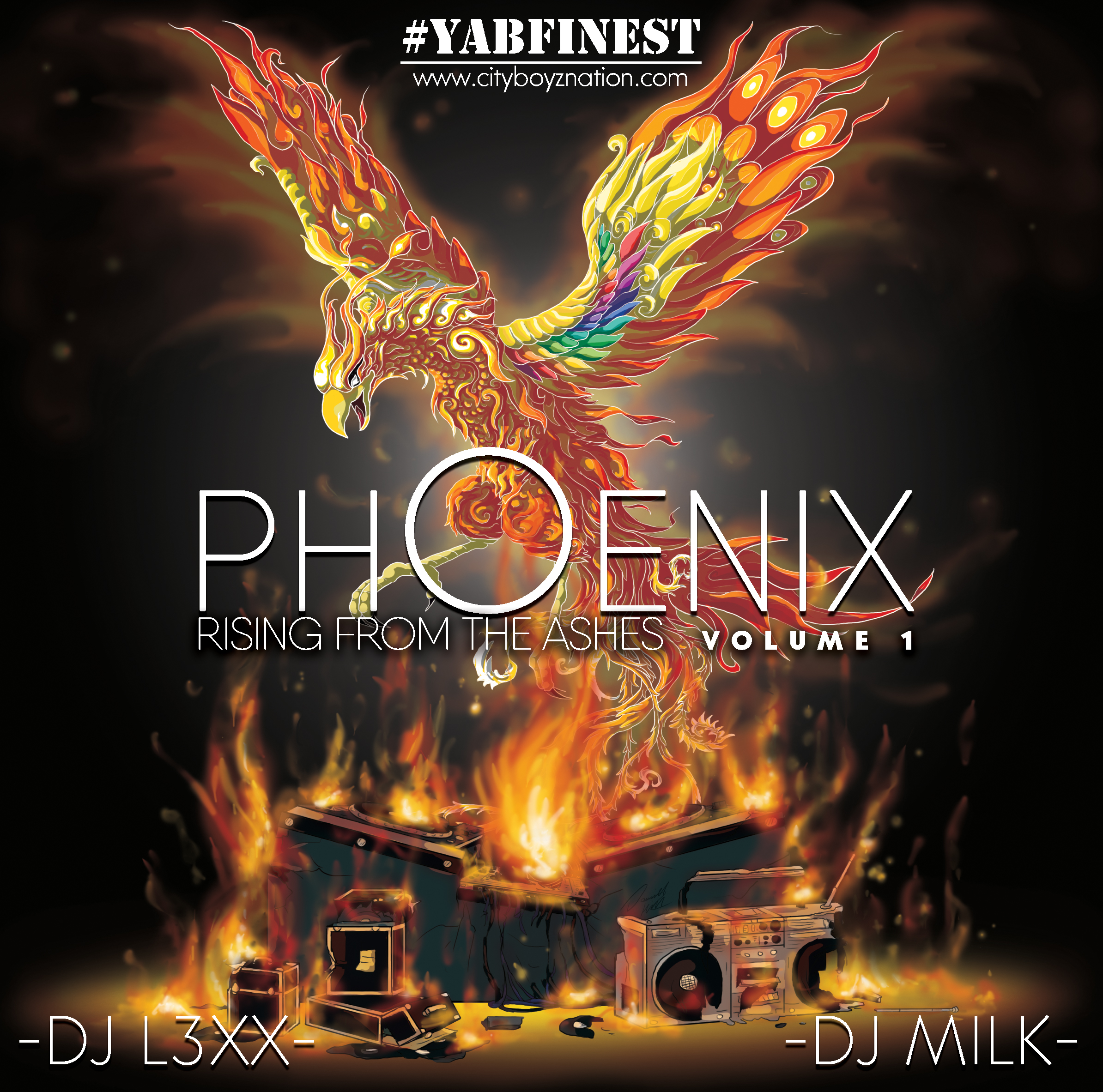 PHOENIX: Rising From the Ashes Vol. 1 ~ Album artwork created for DJ-Lexx Smith & DJ Milk As with each project I always find an area of the artwork i need to do, where i can really push a skill the furthest. With this one I focused on hand painting the flames to bring a more realistic feel to my usually line-heavy artwork. Also using white line-work on the phoenix itself was an experiment to add to its 'glowing' look, and worked out even better than i expected.