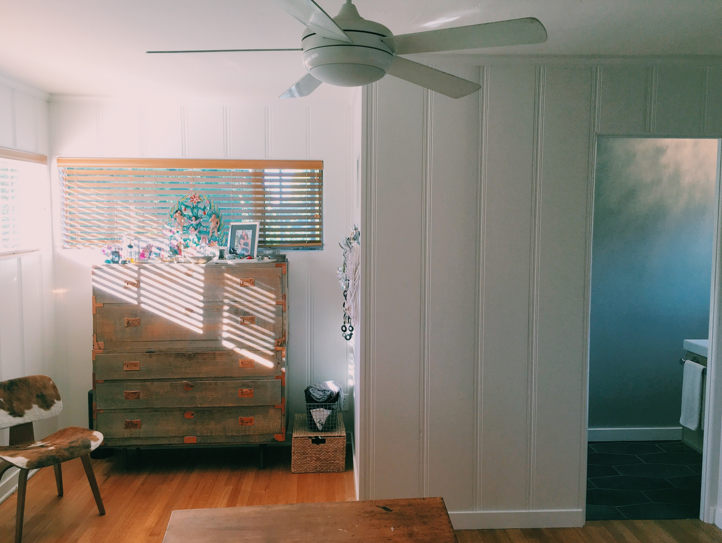 Here's the whole wall so you can see the space it takes up in the room. It actually makes a cozy spot for my dresser.