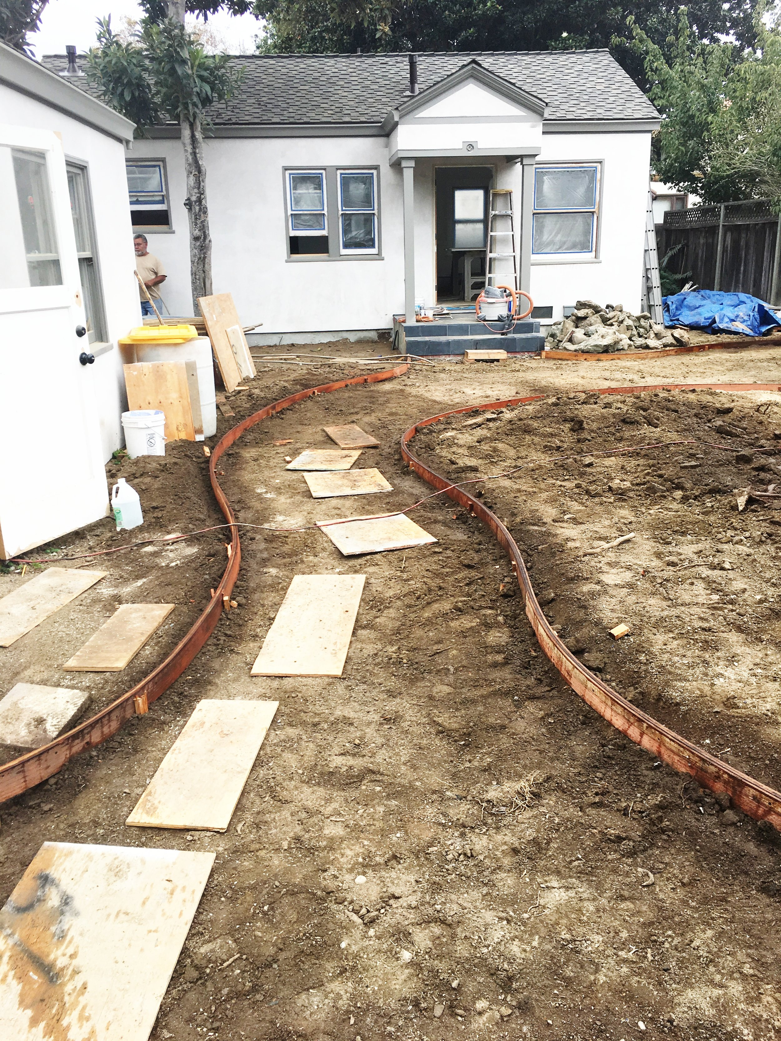 And here is the pathway to the cottage. This will be filled with gray DG (Decomposed Granite). The grass is going to be that groovy No-Mow lawn which is lovely to look and AND drought-tolerant. Win win!