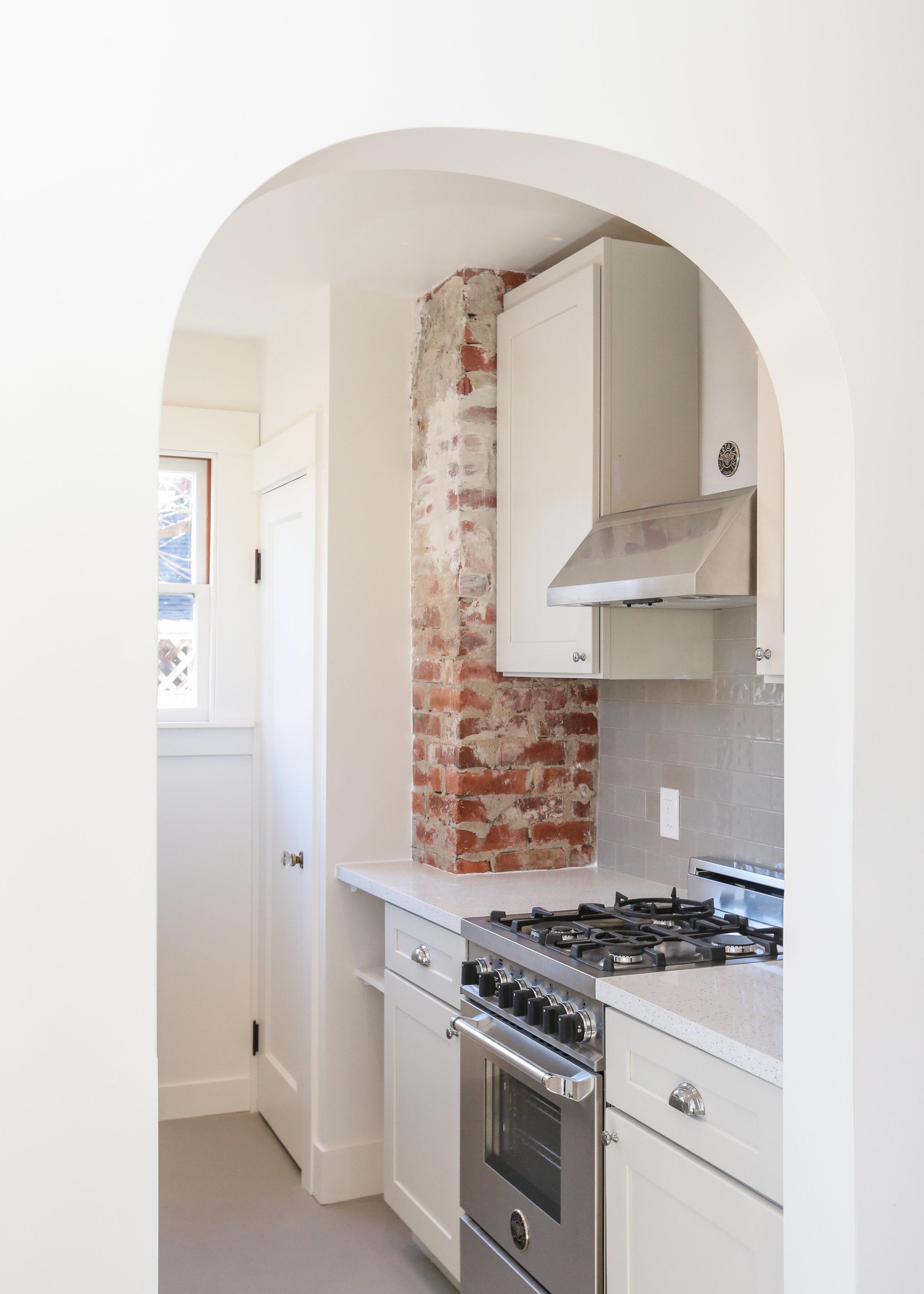 Cottage Kitchen: Walls - BM Dove White in Satin, Trim - Dove White in semi-gloss