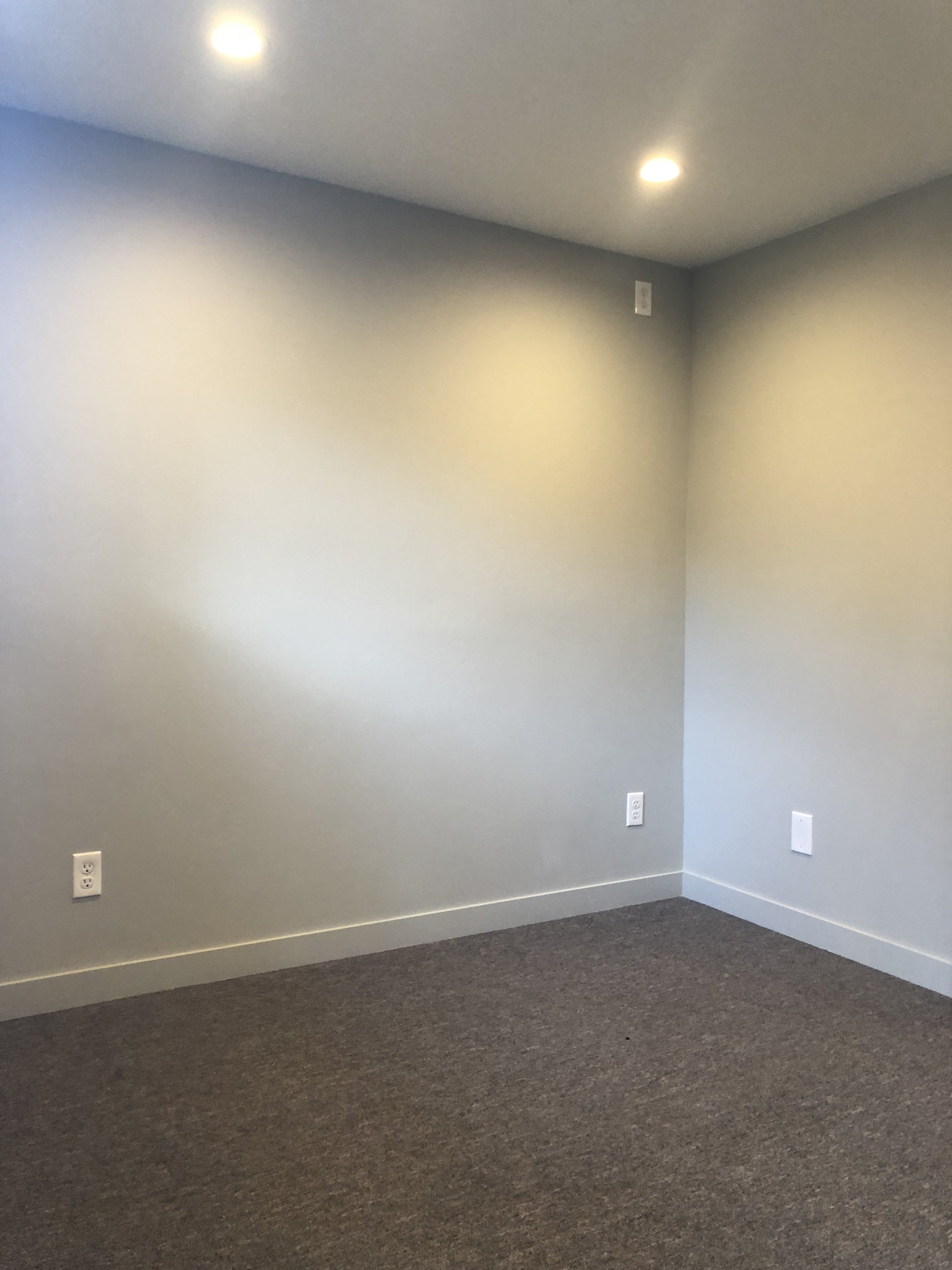 Wanna know how we chose the color for the walls? We had a 5 gallon bucket left over from the Lincoln project. Pretty scary way to design but we were in major efficiency mode. The color is Benjamin Moore  Aloof Gray . For the carpet, we went with super durable industrial carpet from  S&G Carpet .