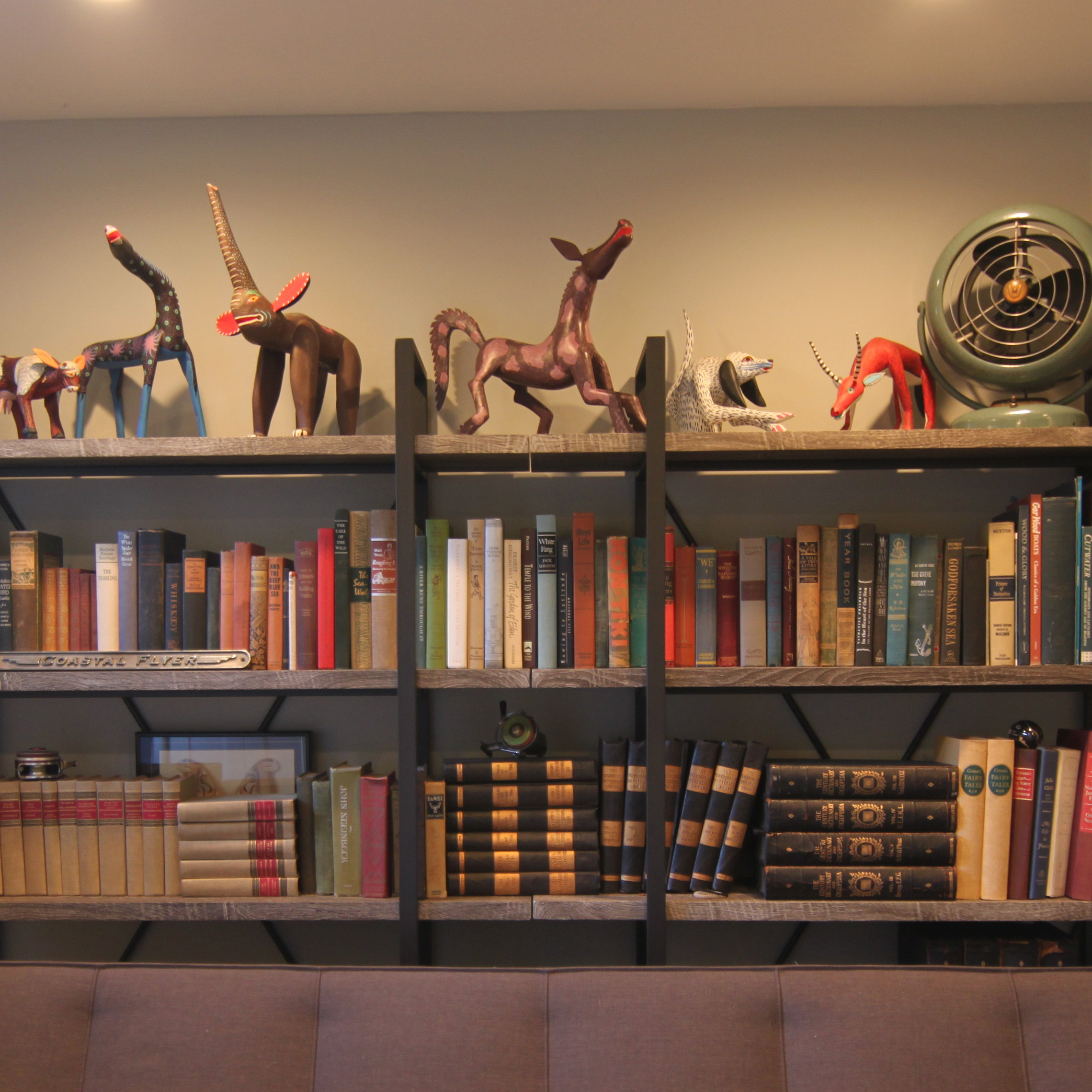 I finally found a place for all my Oaxacan animals that I have been collecting for decades that have spent most of their life in boxes. Lance's collection of vintage books found a home too.