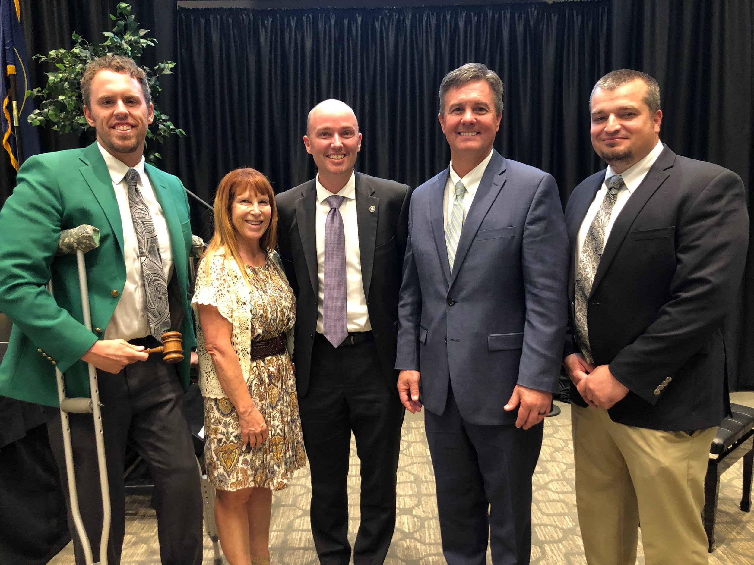 Left to right, President elect Sidney Smith, Past President Robin O'Driscoll, Lt. Gov Spencer Cox, Exec. Director Joel Brown, President Michael Fossett.