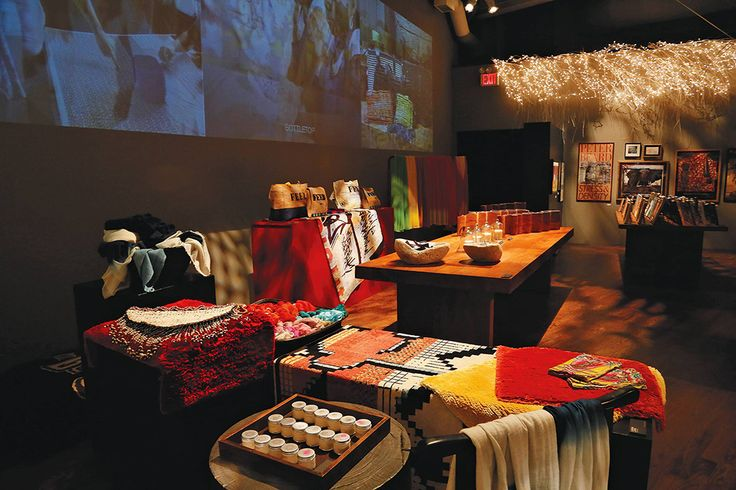Carini Lang's graffiti rugs and cashmere shawls at the 2014 Holiday Marketplace
