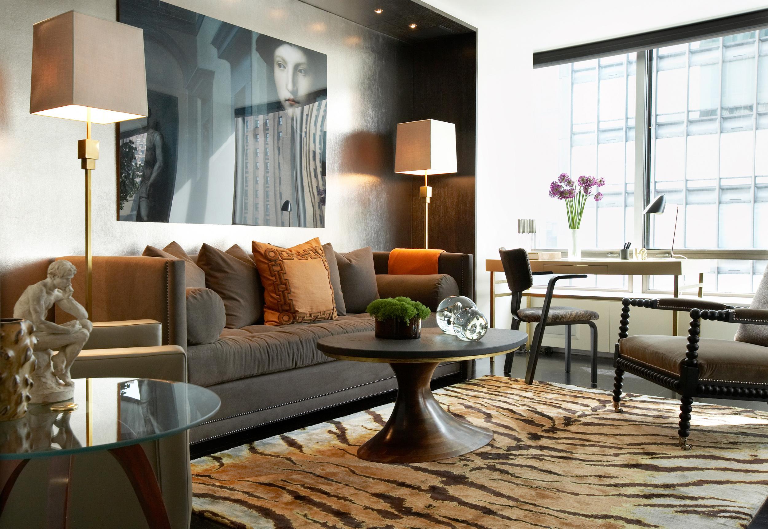 Carini Lang's  Tiger Caramel  carpet shown in an interior designed by David Scott