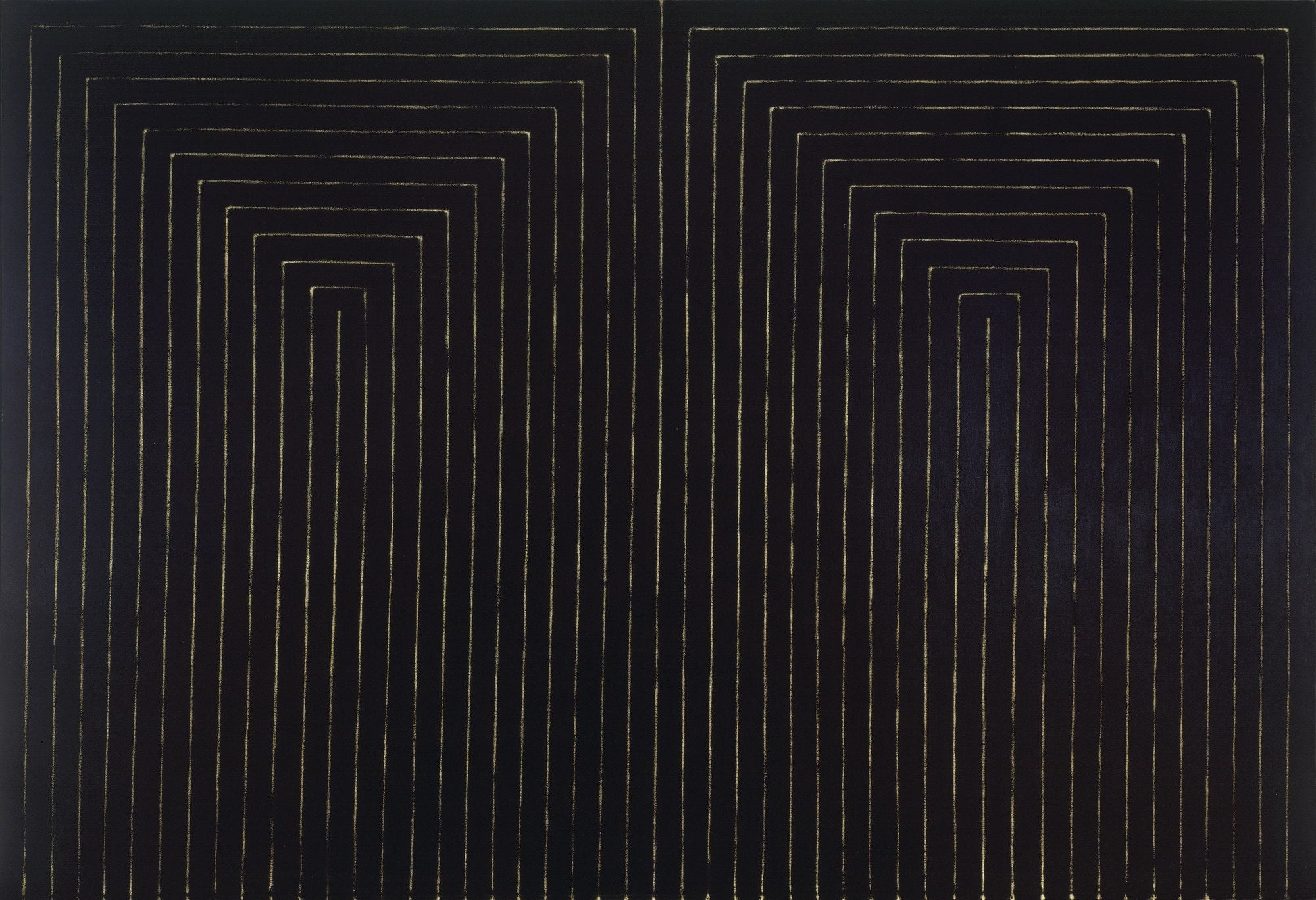 Frank Sella ,  Black Paintings, The Marriage of Reason and Squalor, II  1959. Enamel on canvas