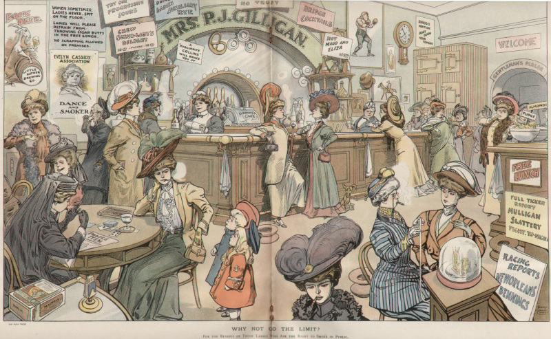 ' Why not go the limit? For the benefit of those ladies who ask for the right to smoke in public.'   The centrefold for political magazine  Puck in 1908. This 'nightmarish vision' of the future showed what would happen if you let women smoke. They would wear badass hats and successfully play the stock market.