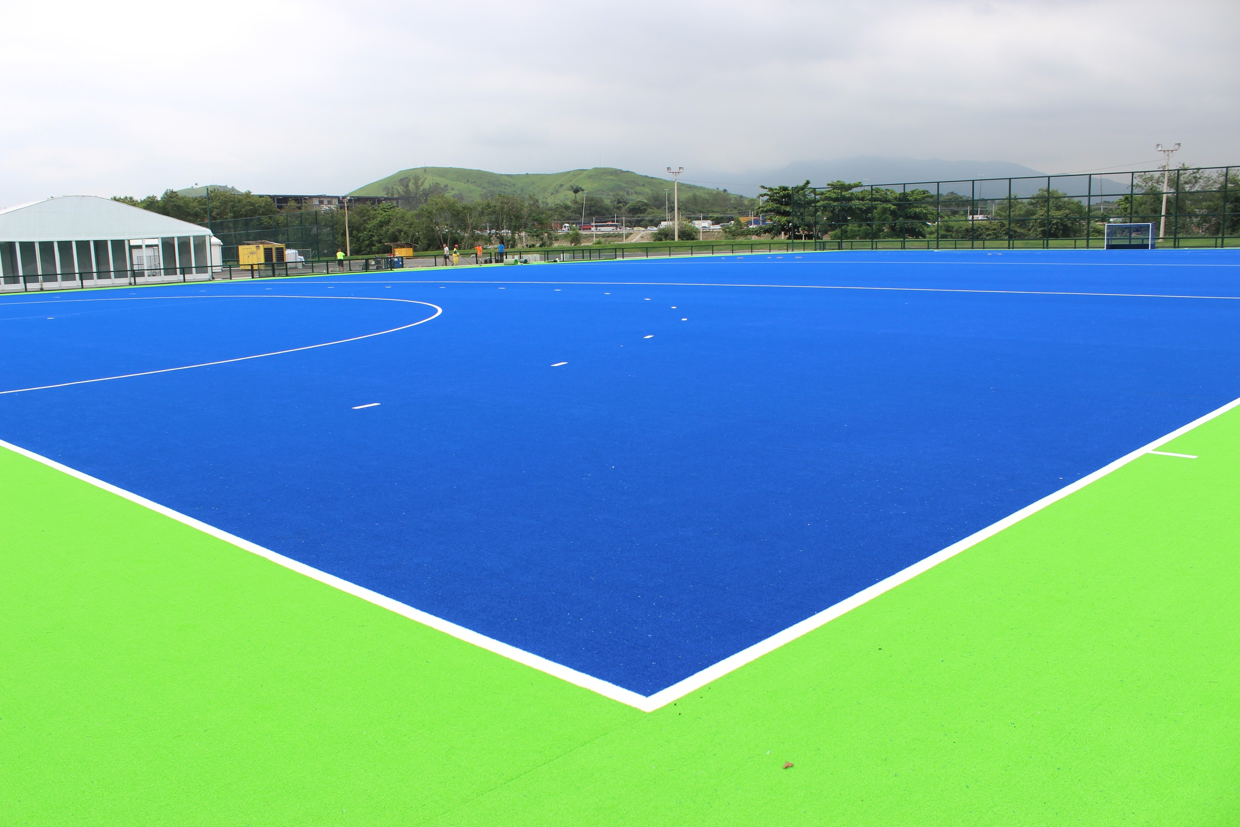 Overview of one of the Rio water based artificial pitches which will be used for hockey