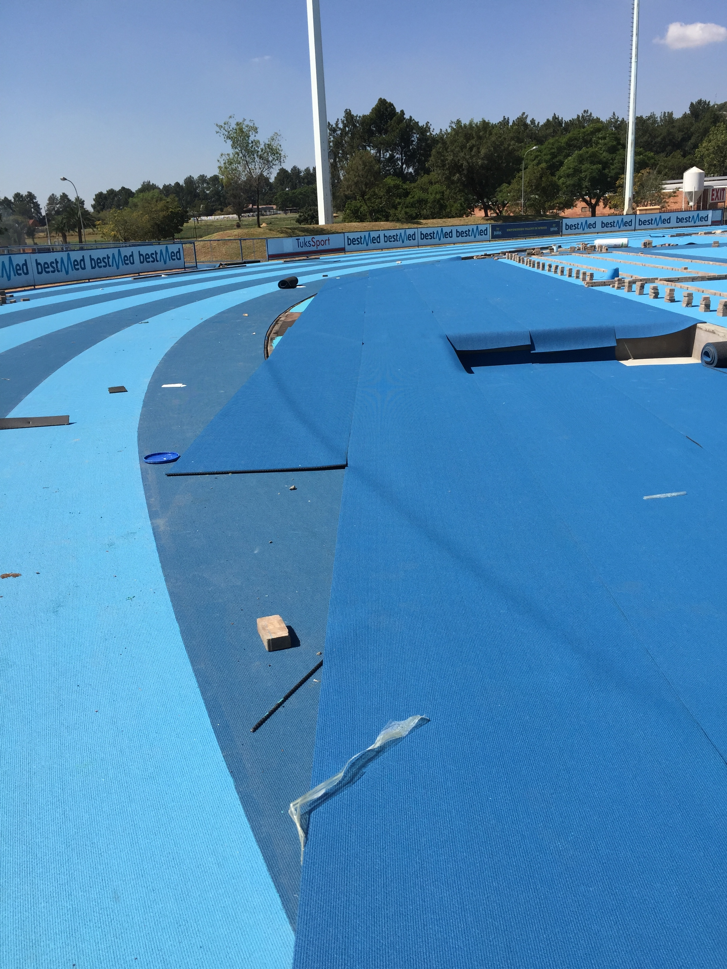The Mondo track nearing completion at TUKS - the lanes are two tone with two tone D's