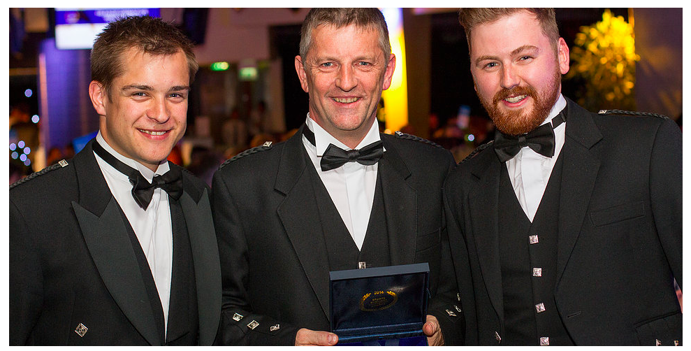 The boys looking resplendent in traditional Scottish attire.
