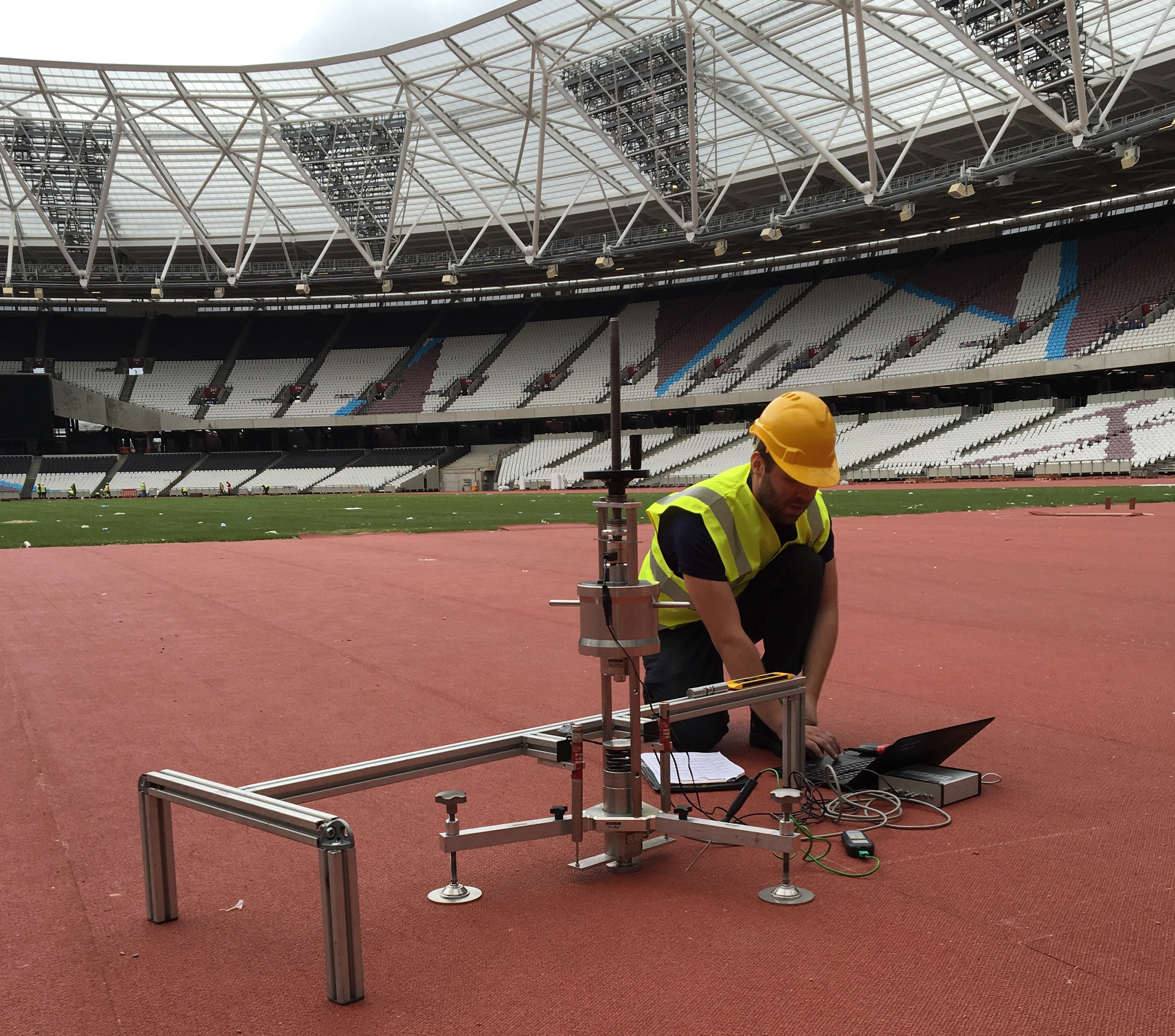 Craig Melrose assessing the shock absorption of the London Track prior to the World Championships