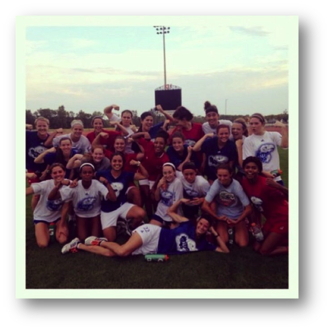 The KU soccer team celebrates finishing the grueling Gauntlet and welcomes the 2014 Preseason