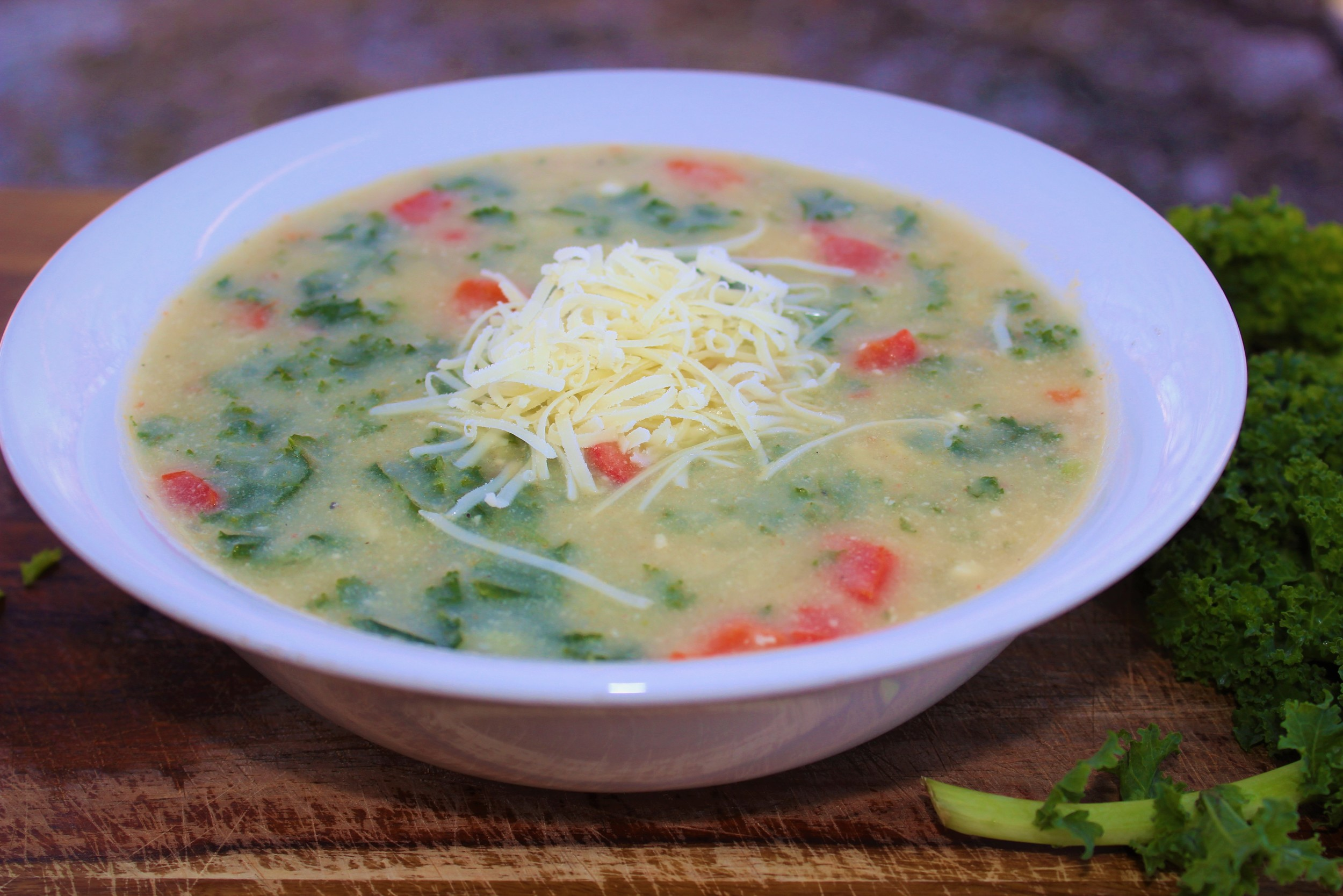 creamy potato with kale soup